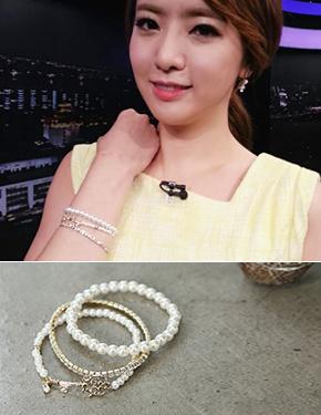 """<font color=""""#ffffff"""">bracelet</font> Key with pearl (SB591) [2Color]"""