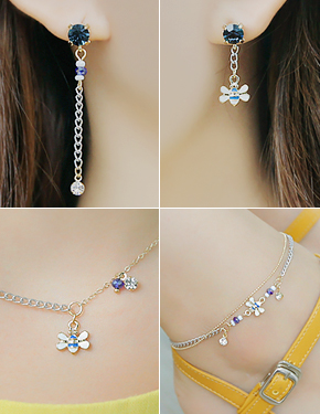 """<font color=""""#ffffff"""">earring, Necklace, anklets set</font> honey butter set (16S130) [4color]"""