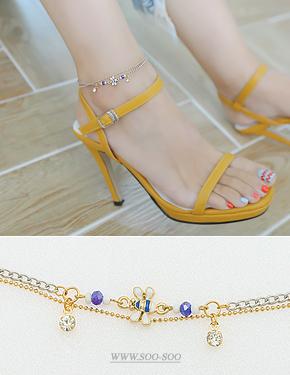 """Honey Butter <font color=""""#ffffff"""">anklet</font> anklet (16A040) [4color]"""