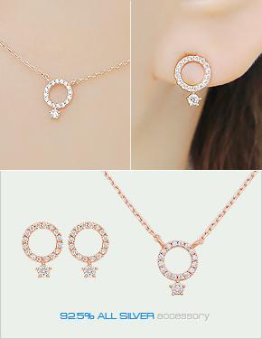 """<font color=""""#ffffff"""">earring, Necklace set,</font> sweet or set (16SS165) [2color]"""