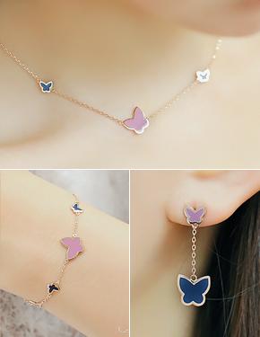 """<font color=""""#ffffff"""">earring, Necklace, bracelet set</font> purple scent set (17S179) [2color]"""